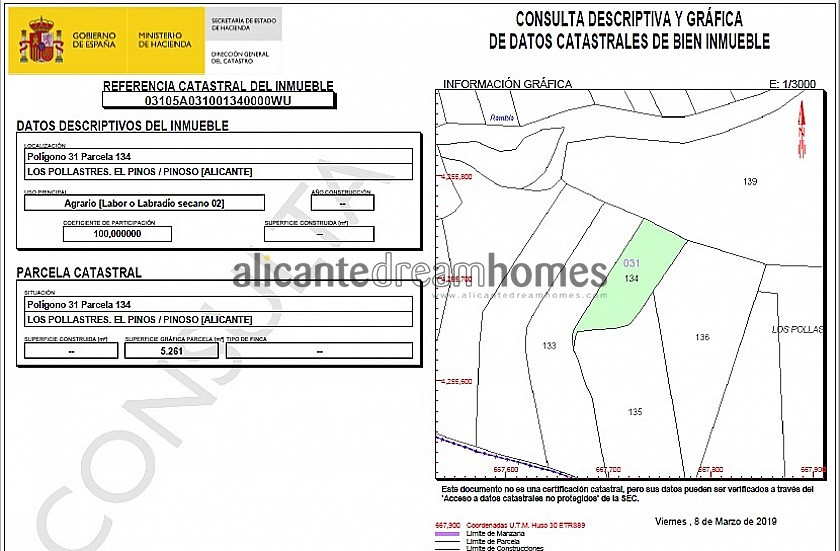 5260m2 of land, can go with 13282, or for a caravan in Alicante Dream Homes